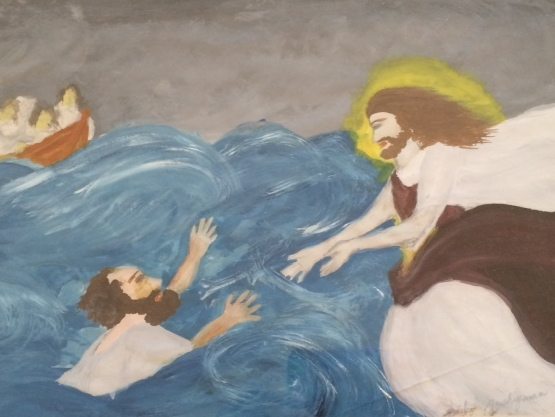 イエスは彼を捕まえて言われた、「信仰の薄い者よ,なぜ疑ったのか」